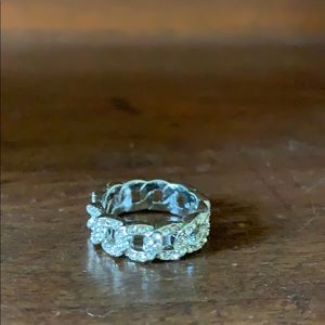 Silver toned pave ring, Chloe + Isabel size 6